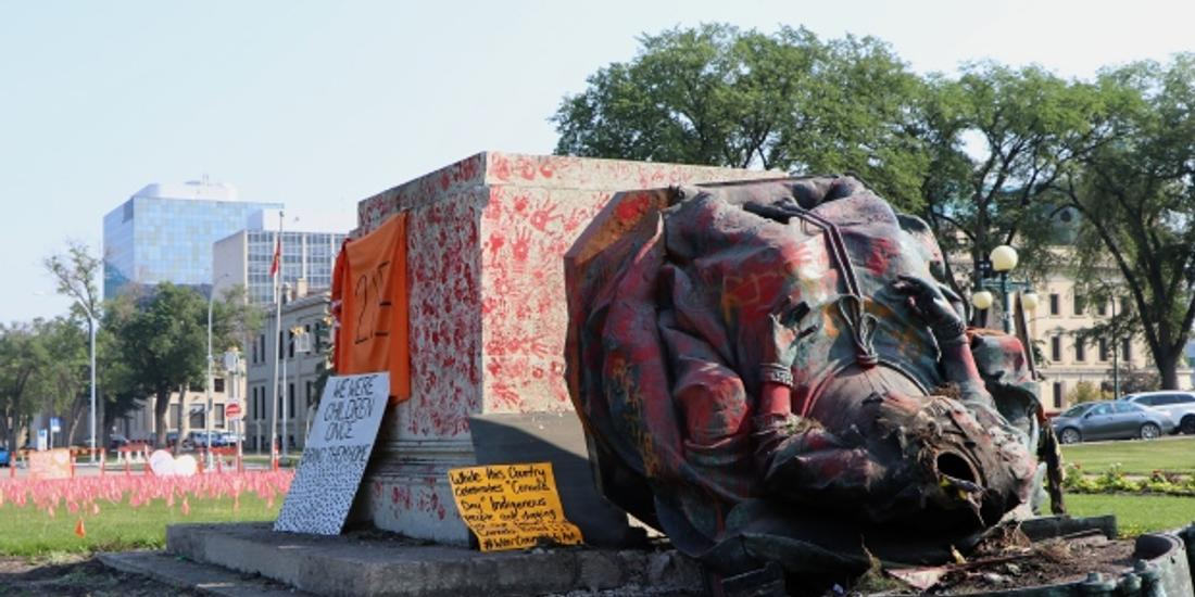 Canada Day protest over residential schools sees monarch statues toppled in Winnipeg
