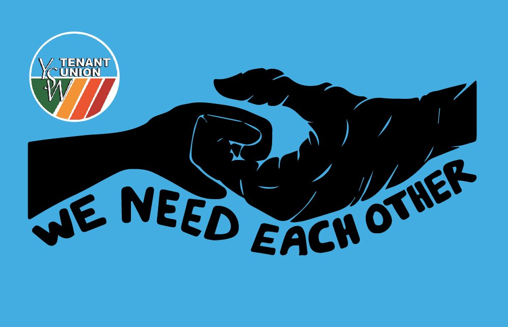 graphic of two hands supporting each other with blue background and YSW Tenant Union Logo