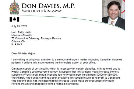 Letter to the Minister Re: Pork Insulin Manufacture