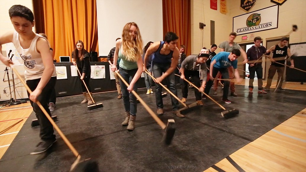 OffBeat performs for the grade 7&8 students at Glashan
