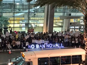 FOX 5 San Diego: Protest to Trump's Travel Ban Grows in Second Day at Lindbergh Field