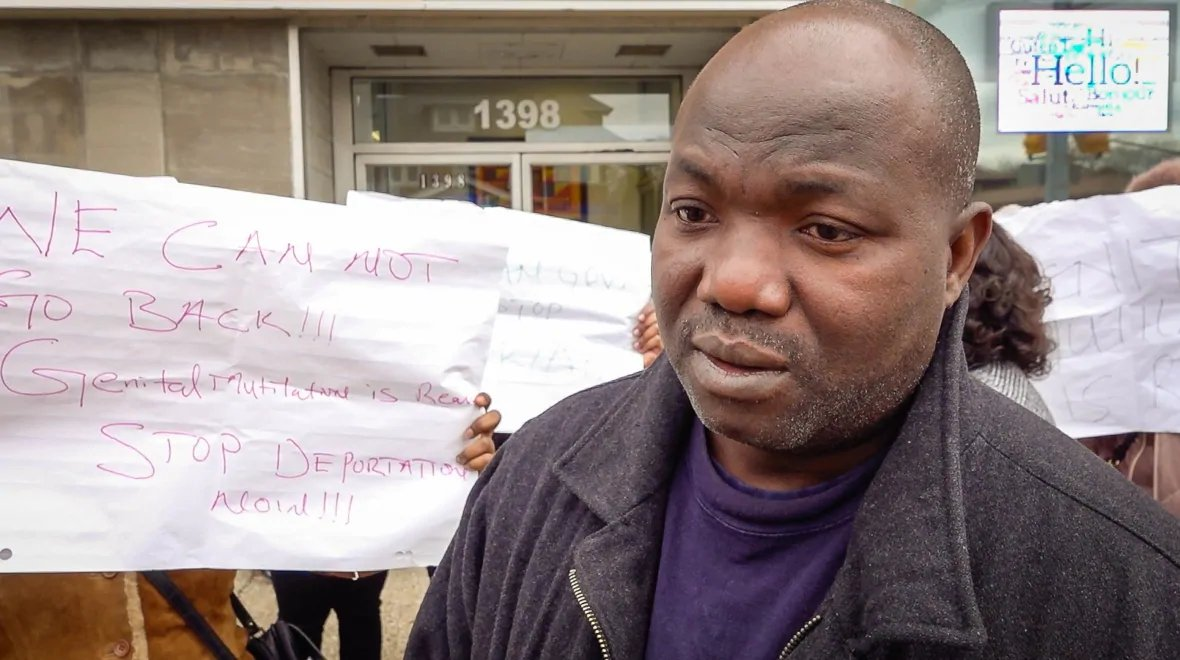 """Claude Saizonou, president of the African Community Organization of Windsor, says his group gathered outside Brian Masse's office because """"we've been through this kind of situation so many time."""" (Rozenn Nicolle/Radio-Canada)"""