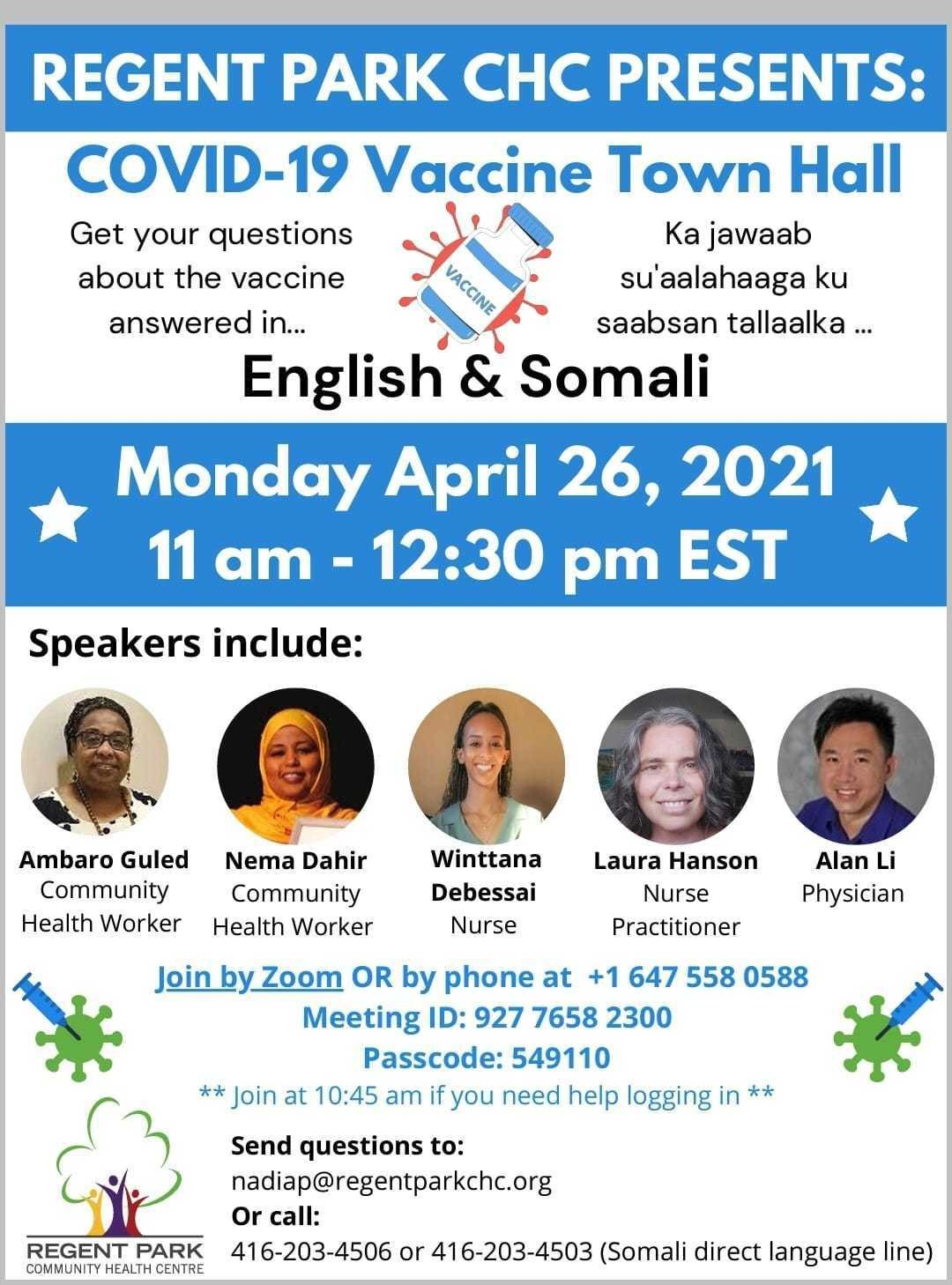 Vaccine town hall registration promotional graphic