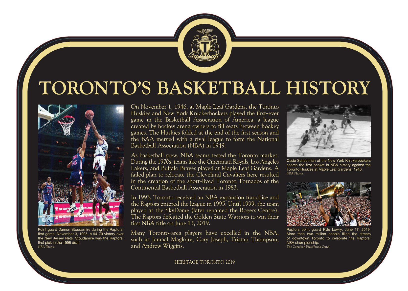 A picture of the history of basketball plaque
