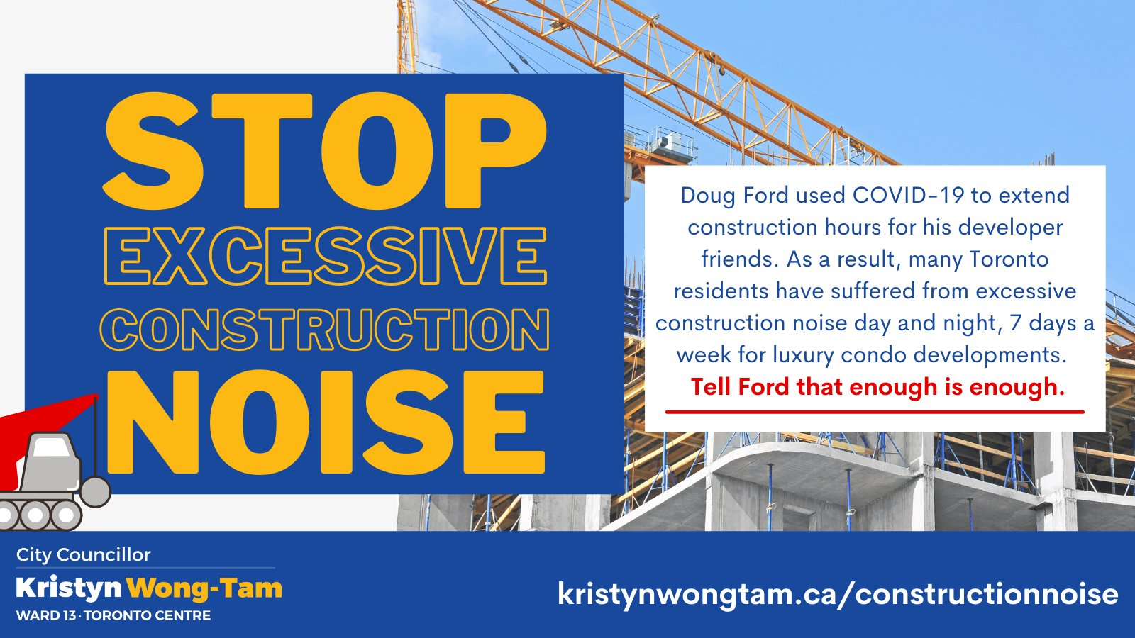 Stop the excessive construction noise petition graphic