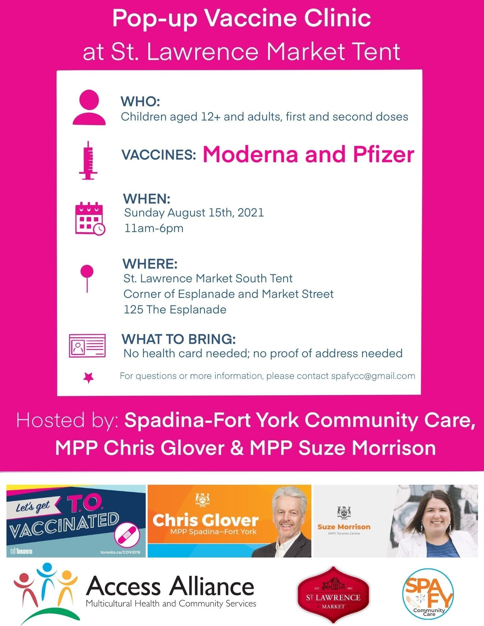 Vaccine Pop-Up Clinic at St Lawrence Market Tent