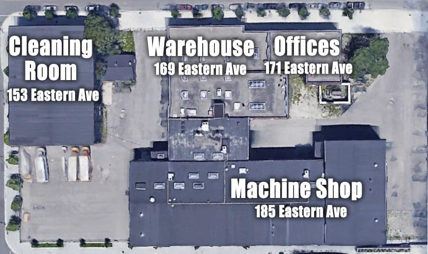 Aerial view showing the four remaining buildings of Dominion Wheel & Foundries Company