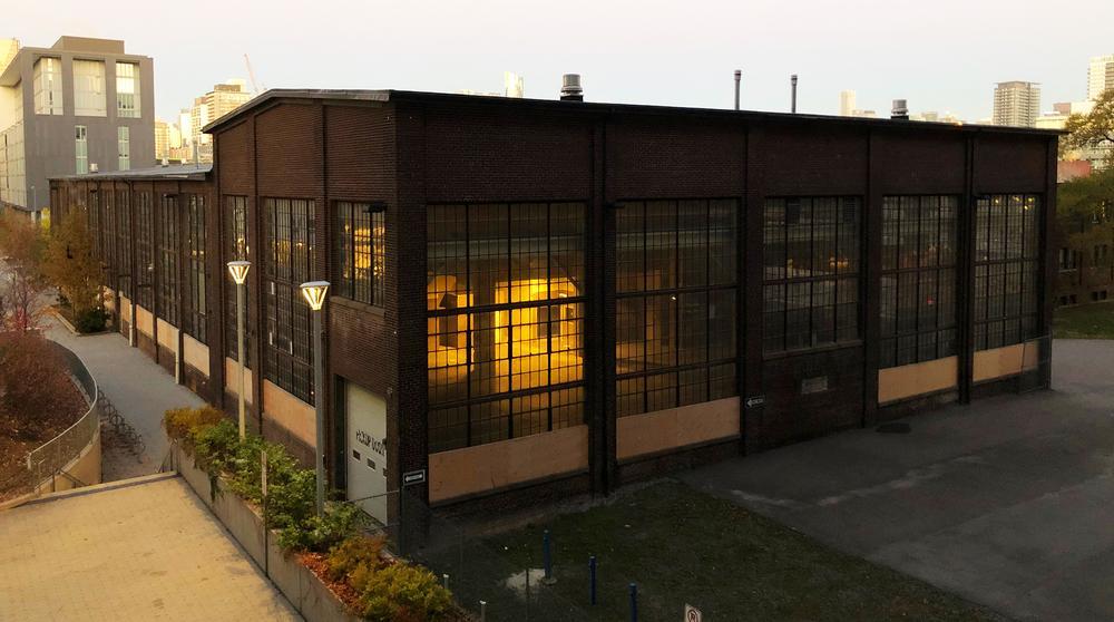 Machine shop at dawn, Dominion Wheel & Foundries site, southeast corner