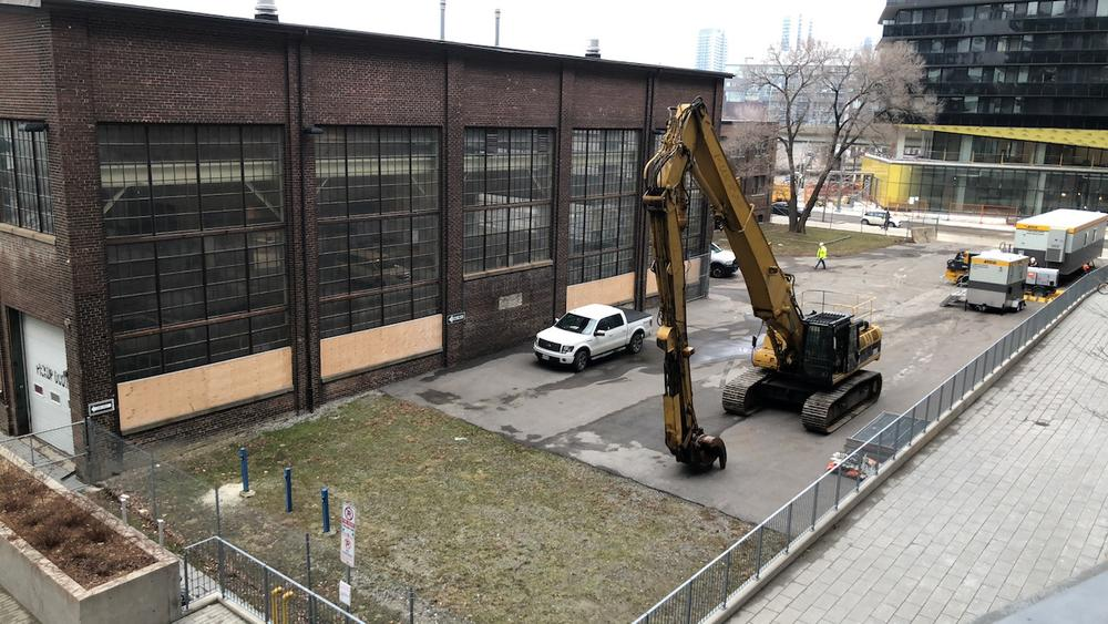 First appearance of the demolition equipment, January 14