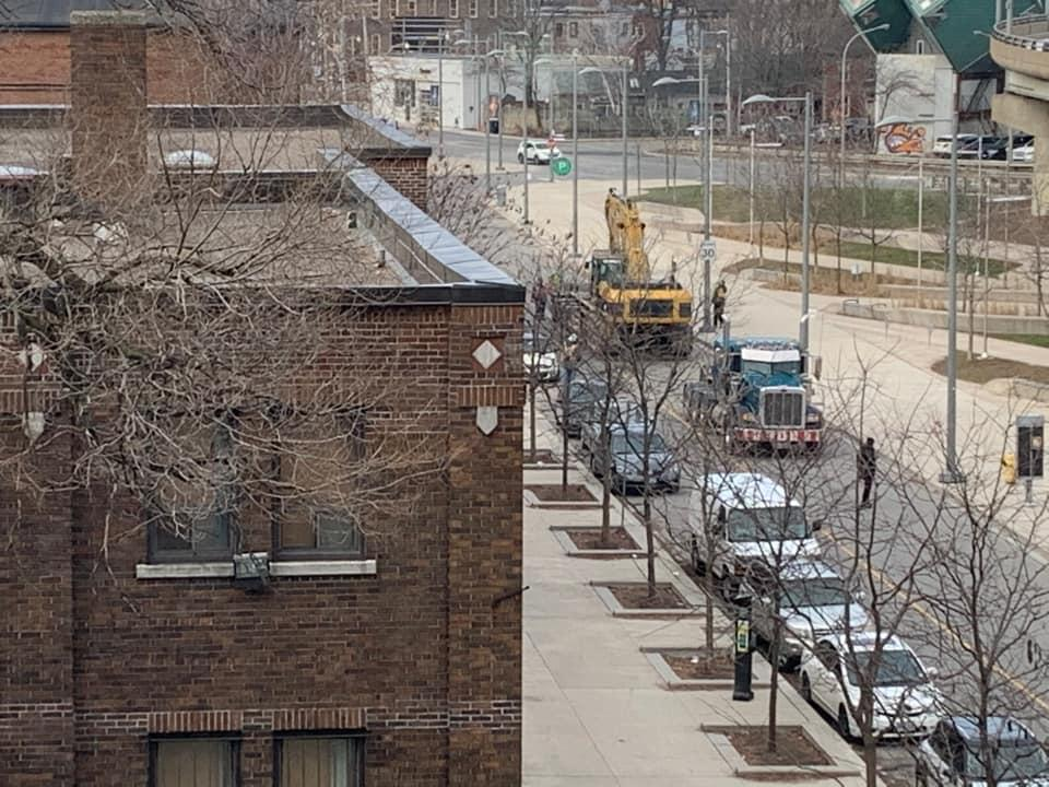 Equipment rolling in on the north side, January 18