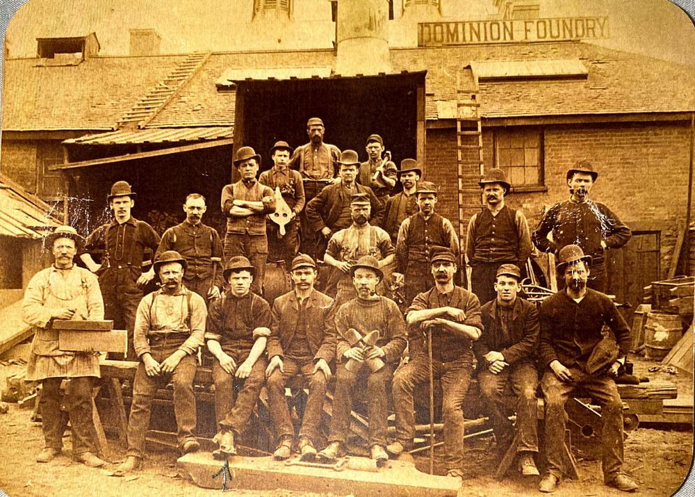 James Chadwick was the great great great uncle of one of the Foundry Friends. He is second from the left in the first row. He also worked for Tomlinson Foundry, nearby. Thanks to Lisa Boos for permission to use this photo.