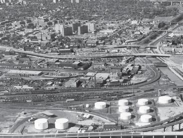 An aerial image taken from the south. probably 1960s. Note Regent Park high rises (now gone) to the north. Note also the many other buildings on the site.