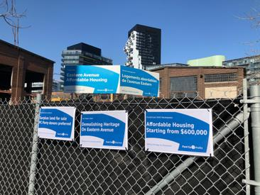 """Community response to the """"Affordable Housing"""" signs the province put up"""