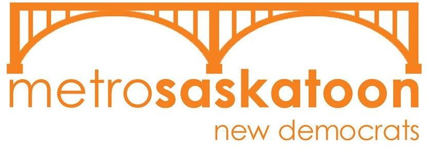 The Saskatoon Metro NDP logo, an orange bridge and the words Metro Saskatoon New Democrats