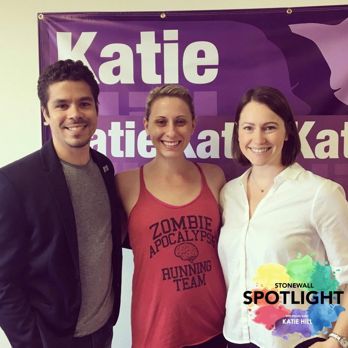Stonewall Spotlight Hosts Mackenzie Hussman and Marcus Lovingood with Katie Hill, Stonewall's endorsed candidate for Congressional District 25