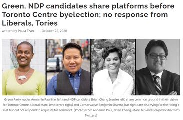 Ryersonian  - Green, NDP candidates share platforms